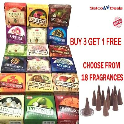HEM Genuine Incense CONES Dhoop Insence Joss Mixed Scents 10 Cone Pk