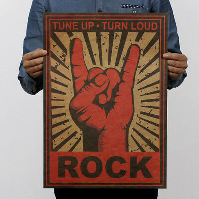Wall Stickers Music Rock Poster Retro Vintage 51.5*36cm Kraft Paper Bar Cafe