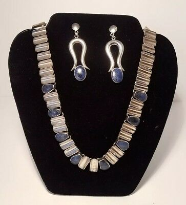 Natural Lapis Lazuli and River Pearl 925 Sterling Silver Jewelry Set Necklace 17 Earrings 1.5 A3419