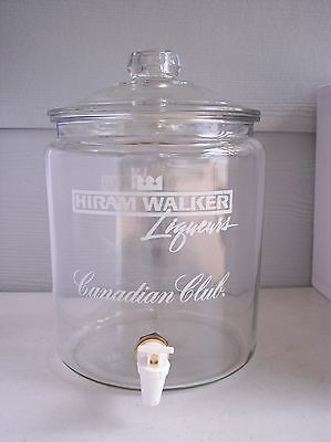 "Vintage Hiram Walker  CANADIAN  CLUB  Liquor  13"" Glass  Drink Dispenser - VGC"