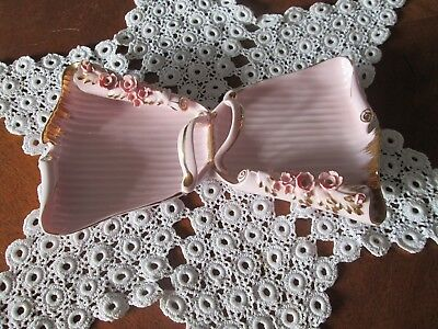 Vintage Lefton China Divided Pink Dresser Tray Mint Condition