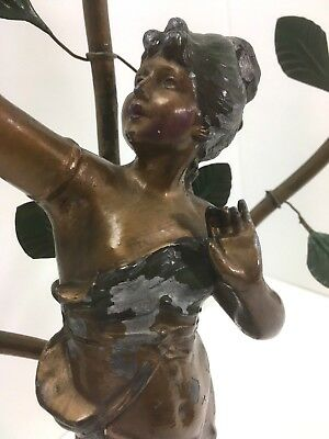 Antique Bronzed Spelter Lamp Art Nouveau Newel Post French Figural