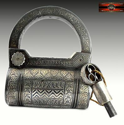 Old Antique Rare Indian Silver Work Old Screw Type heavy Iron Padlock.G2-167
