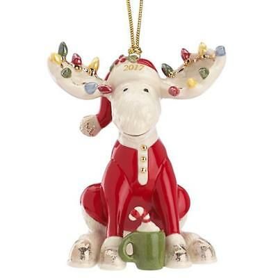 Lenox Annual 2017 MARCEL THE BEDTIME MOOSE Christmas Moose Ornament NEW in box