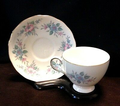 Vintage Hand Painted Cup And Saucer Colclough Bone China Gold Trim Pastel Floral