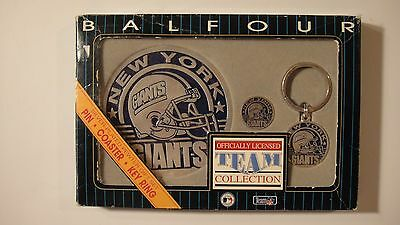New York Giants Balfour Silver Plated Pewter Gift Set Coaster Pin Key Chain NFL