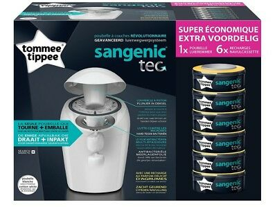 Tommee Tippee Sangenic Tec Nappy Disposal Starter Pack White