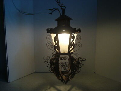 "Vintage 19""  Scroll Wrought Iron Metal Outdoor Porch Light Fixture"