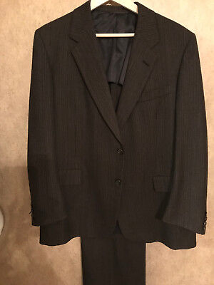 Vintage Hickey Freeman Brown Pinstripe Customized Suit 44R/40W TIMELESS CLASS