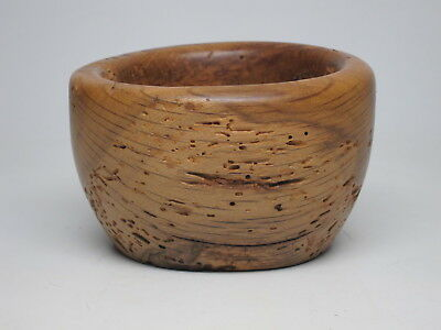 Vintage Worm Spalted Wood Bowl Hand Turned Primitive Trinket Dish Knotty Smooth