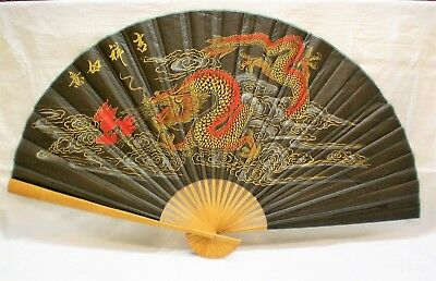 "Large Japanese Fan Chinese Dragon Silk 63"" Hand Painted  Red Gold, Bamboo Frame"