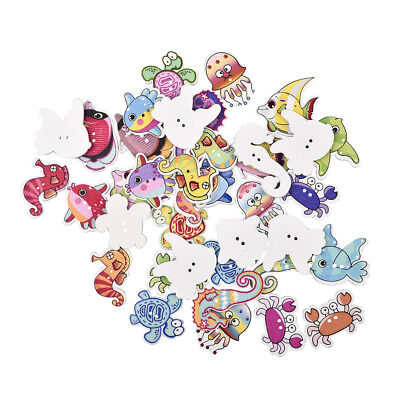 50Pcs/Lot Mixed Marine Animal Wood Buttons Children's Apparel Sewing Crafts