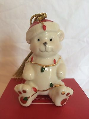 Lenox Very Merry Holiday Christmas Porcelain Bear / Snowman Skiing Ornament 3.5""