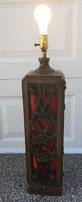 """Large 29"""" Gothic Spanish Revival Vintage Red & Black Table Lamp LIGHTED BASE"""