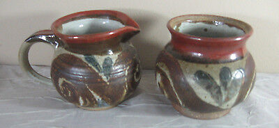 Matching Pot & Pitcher Signed CCW - Red Brown Tan Vintage STUDIO ART POTTERY