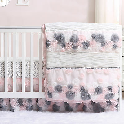 Colette Pink & Grey Floral Flowers 3 Piece Crib Bedding Set by The Peanut Shell