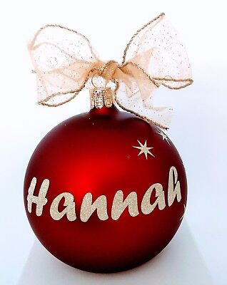 European Glass Personalized Christmas baubles in display box $25 top quality.