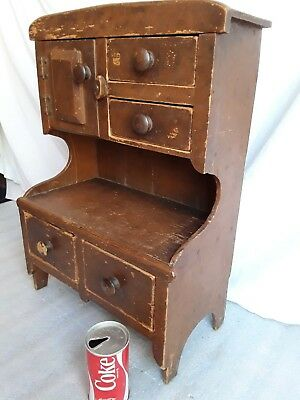 Primitive Antique Child's Miniature Cupboard  early1900s  Folk Art small cabinet