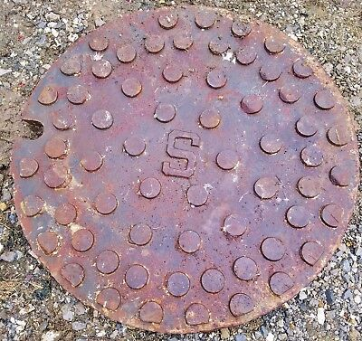 "LIQUIDATION  East Jordan Iron Works	25"" Manhole Cover	U.S. Patent 185878   #8024"