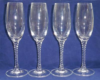 4 Orrefors ANNE Twisted Stem Tall Champagne Flutes Glasses EUC
