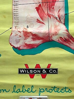 Vintage Wilson & Company Advertising Meat Chart Beef Cuts
