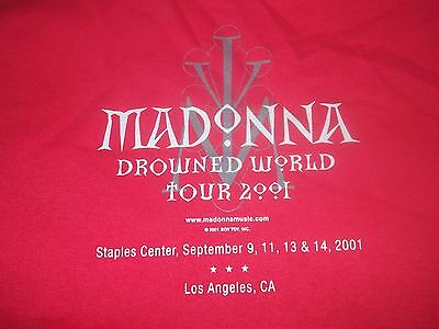 MADONNA Drowned World' 2001 Los Angeles event tour shirt Adult Large Rare 9/11