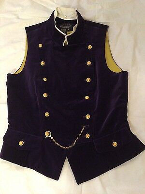 J Peterman EC! Vintage Deep Purple Velvet Sz 12 Vest Military Steampunk Gorgeous