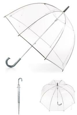 Totes Clear Bubble Umbrella Easy Grip Curved Imported Plastic Handle Durable New