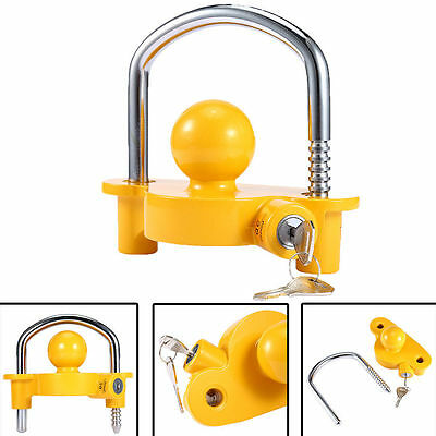 Trailer Hitch Lock Safety Tow Hitch Lock Universal Trailer Coupling Lock Yellow