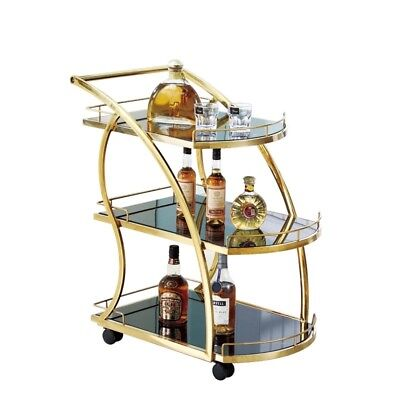 BAR CART TROLLEY Drinks Handles Serving Tea Trays GOLD SILVER BRAND NEW