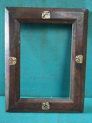 Vintage old Beautiful Decorative Brass Fitted Unique Wooden Photo Frame #3931