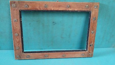 Vintage old Decorative Brass Fitted Unique shape Wooden Photo/mirror Frame #3989