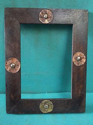 Vintage old Beautiful Decorative Brass Fitted Unique Wooden Photo Frame #3932