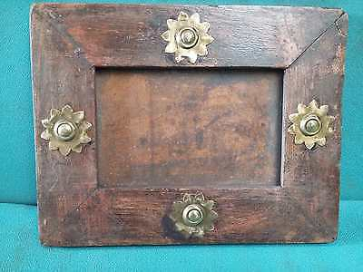 Vintage old Beautiful Decorative Brass Fitted Unique Wooden Photo Frame #3916