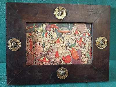 Vintage old Beautiful Decorative Brass Fitted Unique Wooden Photo Frame #3960