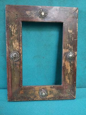 Vintage old Beautiful Decorative Brass Fitted Unique Wooden Photo Frame #3880