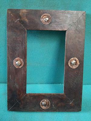 Vintage old Beautiful Decorative Brass Fitted Unique Wooden Photo Frame #3944