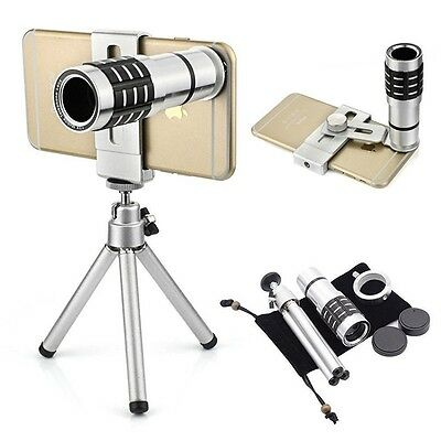 cell Phone Mobile Camera Lens Kit 12x Optical Zoom Universal Telescope eye wide