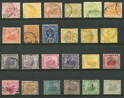 1854-1912 Western Australia.  Unchecked selection of 24 state stamps.
