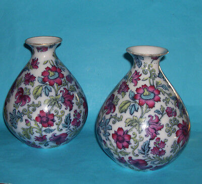 Vintage Burleigh Ware Pair Of Attractive Floral Pattern Vases (Full Marks) c1930