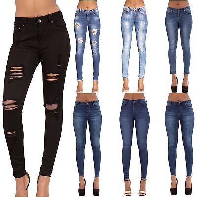 WOMEN'S BLUE SKINNY JEANS Ladies Sexy Faded Ripped Biker Denim SIZE 6 8 10 12 14