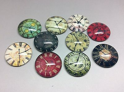 Glass Cabochons x 10pcs Round Vintage Clock Faces Mixed Choose 16 or 25mm