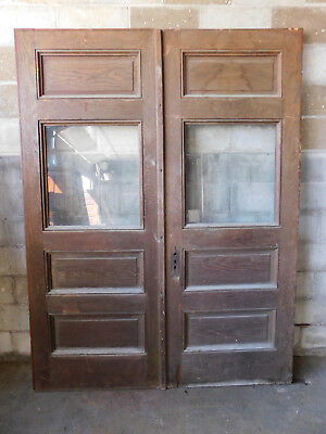Antique Victorian Entry Doors - C. 1890 Oak Orig. Glass Architectural Salvage