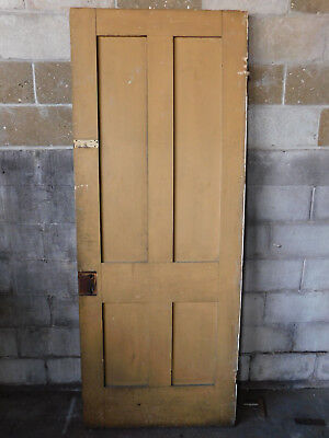 Antique Victorian Interior 4 Panel Door - Circa 1860 Fir Architectural Salvage