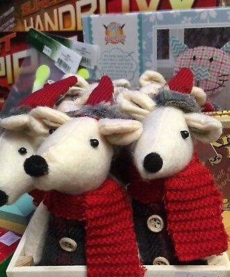 christmas handmade felt mice decorations in beautiful detailed knitted clothing
