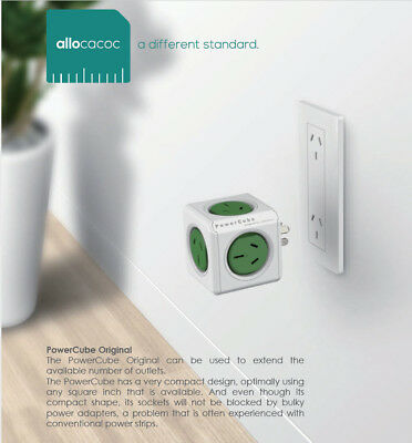 Allocacoc Powercube Original GREEN with 5 power outlet Red Dot award Winner