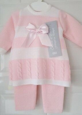 Spanish Style Baby Girl Knitted 2 Piece Dress and Leggings Set / Outfit.