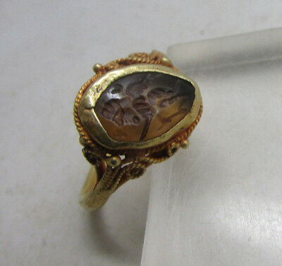 Scarce Ancient Rome Gold Ring With Mercury Intaglio