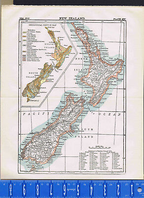 1907 New Zealand - Antique MAP w/ Geological Sketch Map