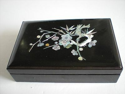Vintage Asian Japanese Chinese Black Lacquer Mother of Pearl Lidded Box